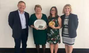 Photo L-R: Former AgriFutures Australia Program Manager, Ashley Radburn; Julie Sansom; Ashlee Morgan, 2018 Gary Sansom Scholar and Dr Vivien Kite, Executive Director Australian Chicken Meat Federation. Image courtesy of AgriFutures Australia