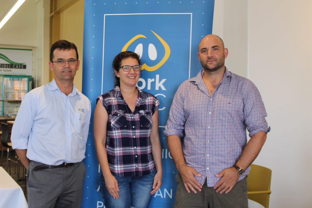 Charles Rikard-Bell, Pork CRC, Stephanie Nicholas, Portec and Will van Wettere, University of Adelaide at the 2018 Science and Practice of Pig Production course.