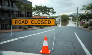 flooded road stock image