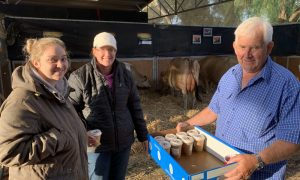 Jersey Australia director Paul Lenehan serves coffee and donuts for a gold coin donation to Grace Wolfe and Samantha Daniel (with hat) at IDW.