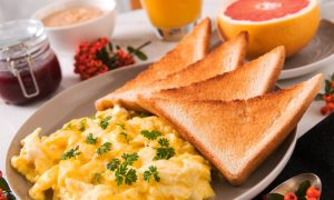 breakfast eggs on toast stock image